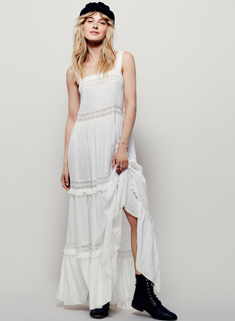 White Strappy Sleeveless Backless Maxi Solid Dress - girlyrose.com