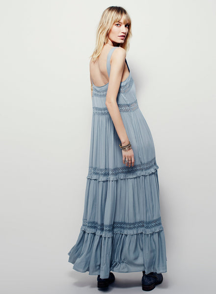 Dusty blue Strappy Sleeveless Backless Maxi Solid Dress - girlyrose.com