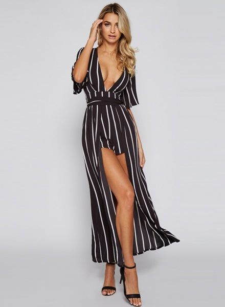 Striped Deep V Neck Romper with Maxi SKirt - girlyrose.com