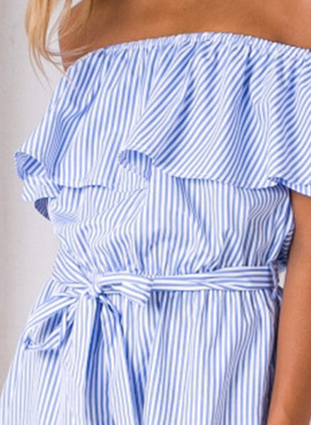 Striped off Shoulder Ruffle Short Sleeve Tie Waist Romper - girlyrose.com