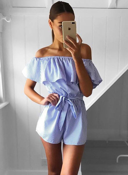 Striped off Shoulder Ruffle Short Sleeve Tie Waist Romper