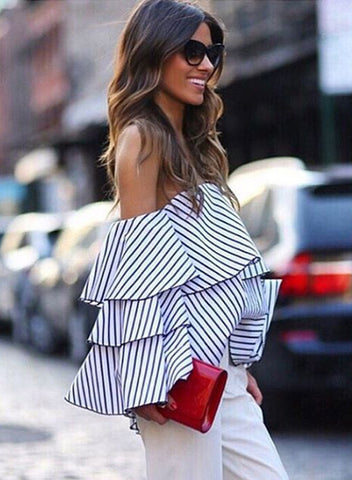 Women's Striped off Shoulder Ruffled Blouse