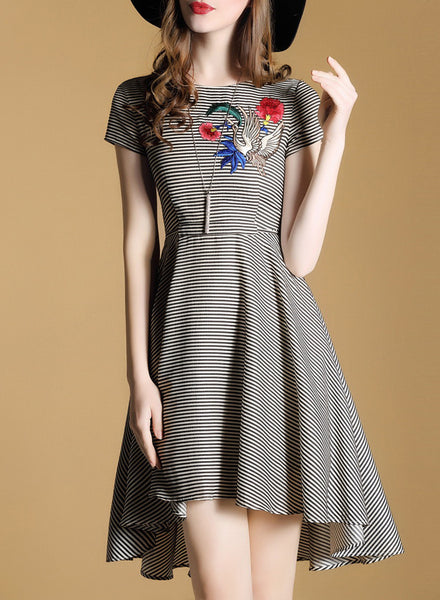 Striped Short Sleeve Embroidery A-line Irregular Dress - girlyrose.com