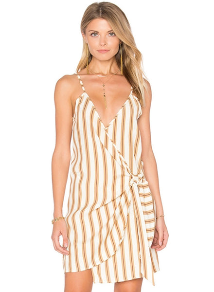 White Striped Spaghetti Strap V neck Irregular Tie Dress