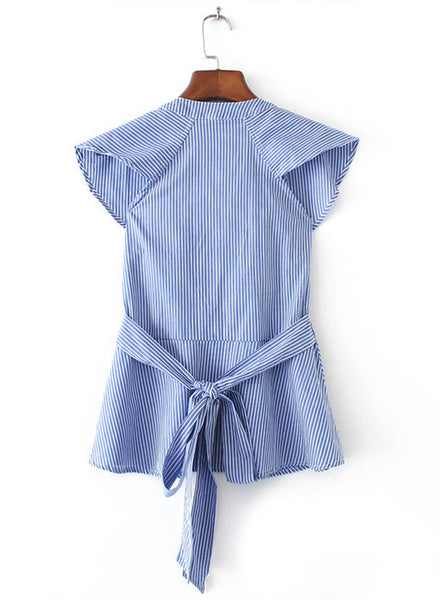 Striped V Neck Ruffle Tie Back Blouse - girlyrose.com