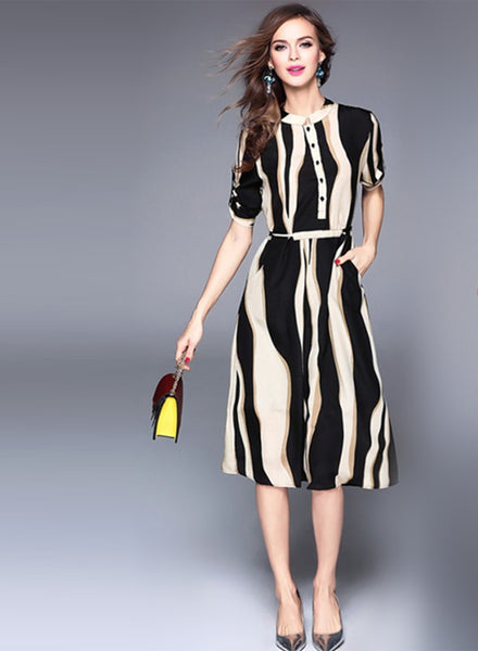 Stripped Print Slim Chiffon Midi Dress - girlyrose.com