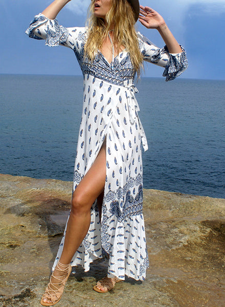 Summer Boho Print V Neck Asymmetric Dress