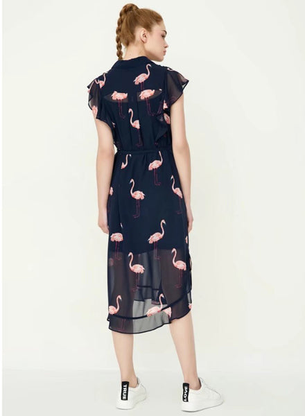 Swan Printing Slim Sleeveless Dress