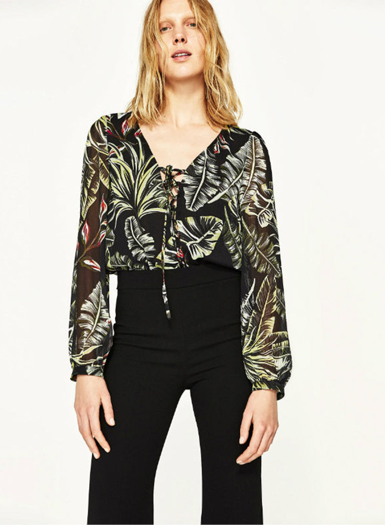 Tropical Plant Print V Neck Jumpsuit