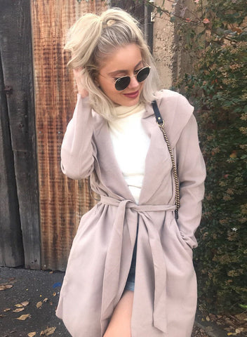 Turn-down Collar Long Sleeve Solid Color Trench Coat