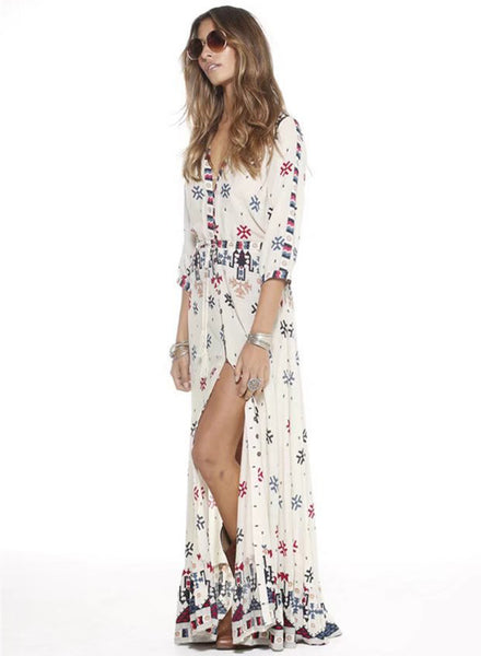 V Neck 3/4 Sleeve Split Bohemian Printed Maxi Dress - girlyrose.com