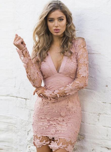 Pink V Neck Backless Hollowed out Crochet Bodycon Dress with Belt