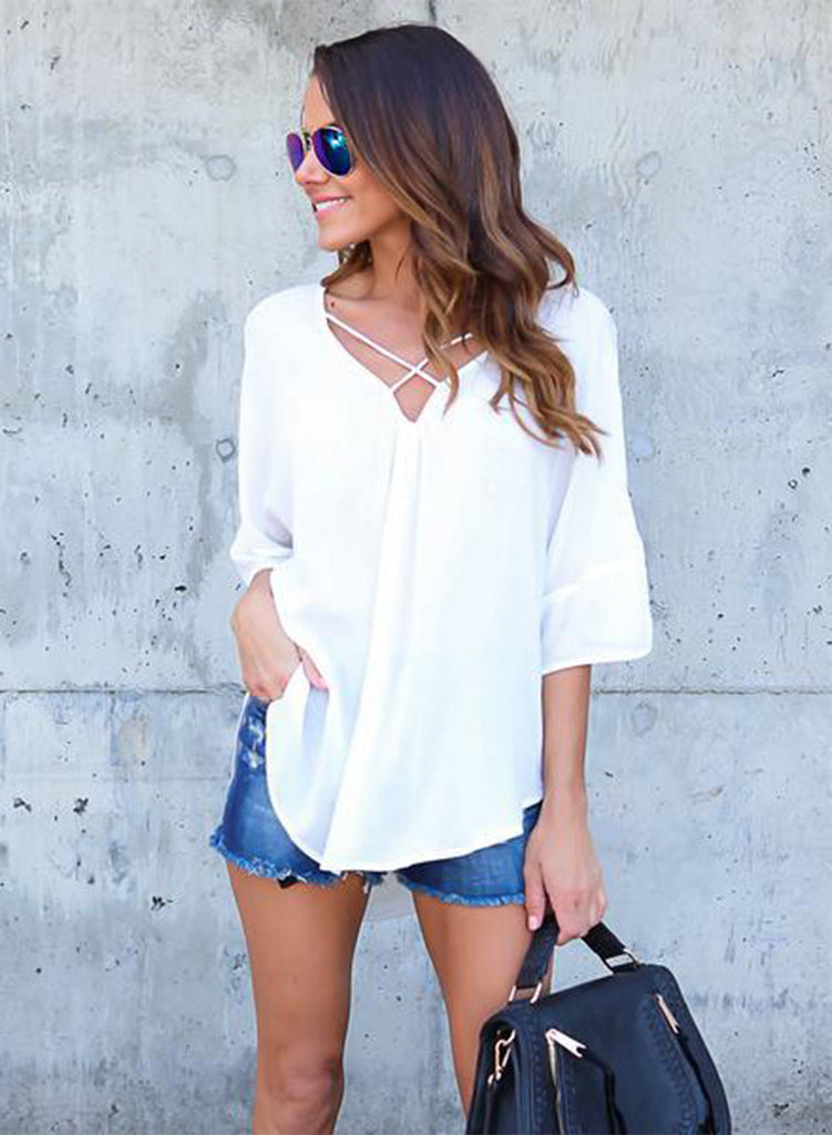 V Neck Criss Cross Backless Chiffon Blouse - girlyrose.com