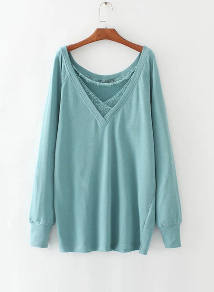 Green V Neck Lace Splicing Pullover Sweatshirt - girlyrose.com