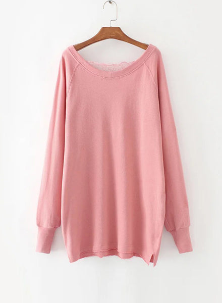 Pink V Neck Lace Splicing Pullover Sweatshirt