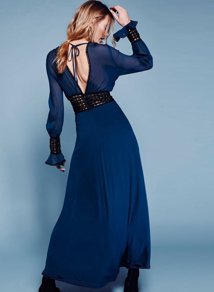 V Neck Long Sleeve Backeless Split Maxi Prom Dress - girlyrose.com