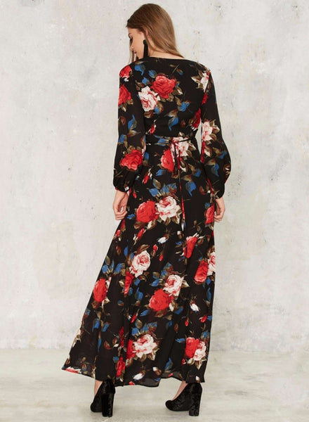 V Neck Long Sleeve Floral Printed Split Maxi Prom Dress - girlyrose.com