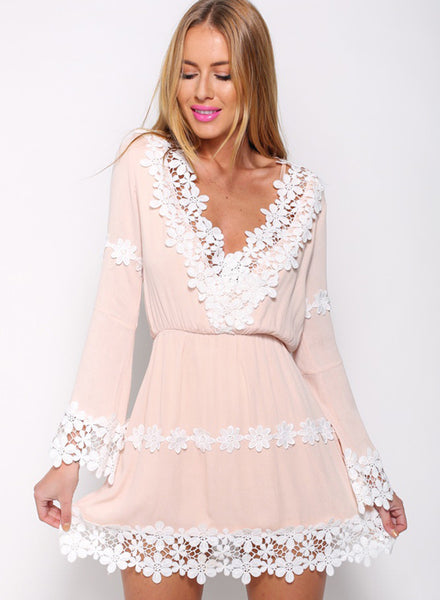 V Neck Long Sleeve Lace Trim Mini Dress - girlyrose.com