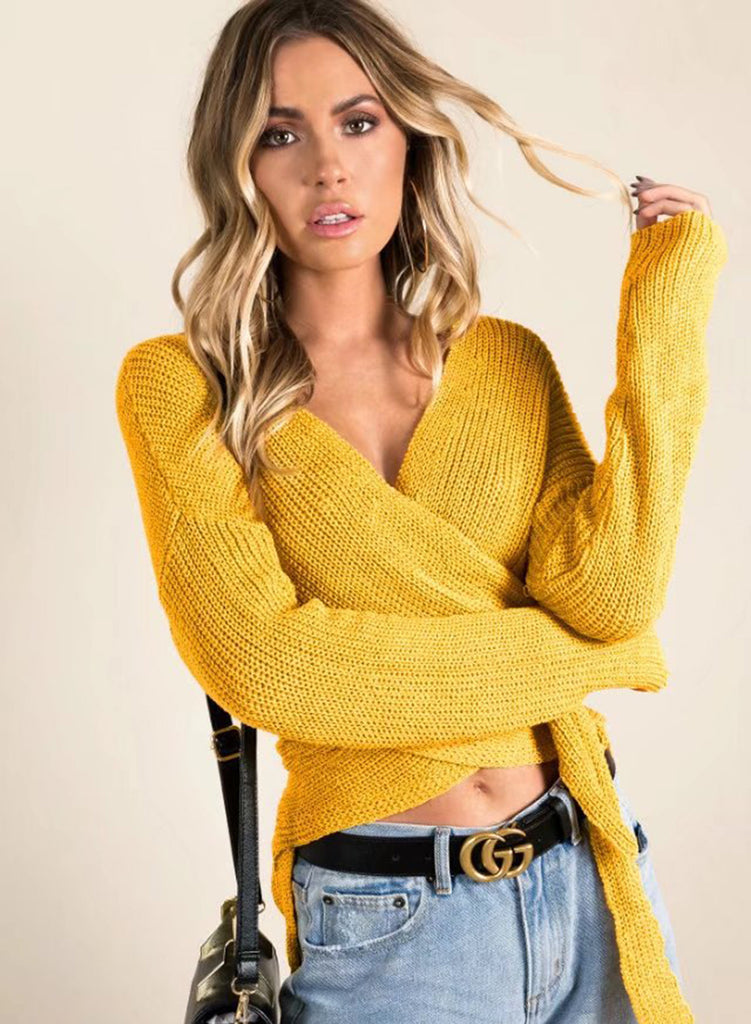 V Neck Long Sleeve Tie Front Sweater - girlyrose.com