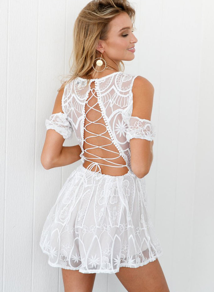 V Neck off Shoulder Back Lace up Romper - girlyrose.com