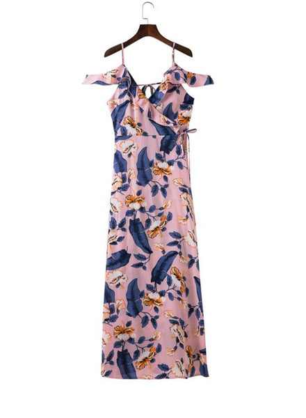 Pink V Neck off Shoulder Ruffle Floral Printed High Slit Maxi Dress