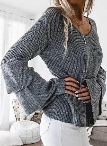 V Neck Ruffle Sleeve Loose Pullover Sweater - girlyrose.com