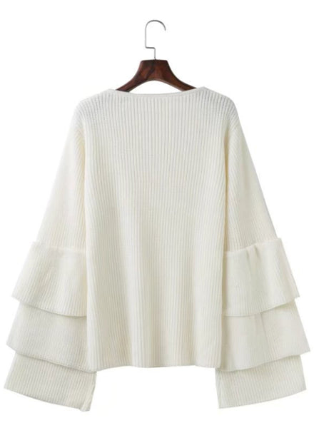 V Neck Ruffle Sleeve Loose Pullover Sweater