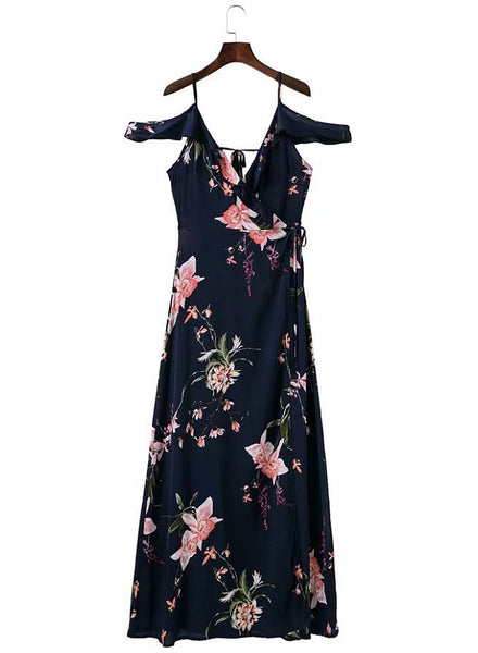 V Neck Ruffle Split Floral Printed Maxi Dress - girlyrose.com