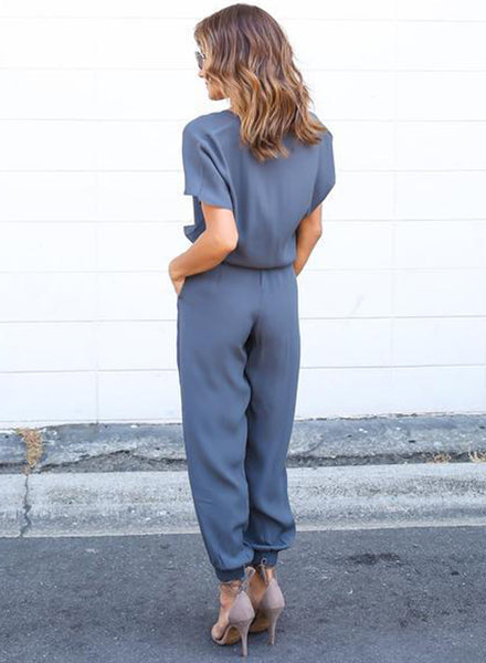 V Neck Short Sleeve Drawstring Waist Chiffon Jumpsuit - girlyrose.com