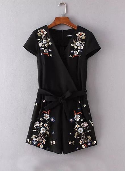 V Neck Short Sleeve Floral Embroidery Romper - girlyrose.com