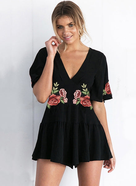 V Neck Short Sleeve Floral Embroidery Romper
