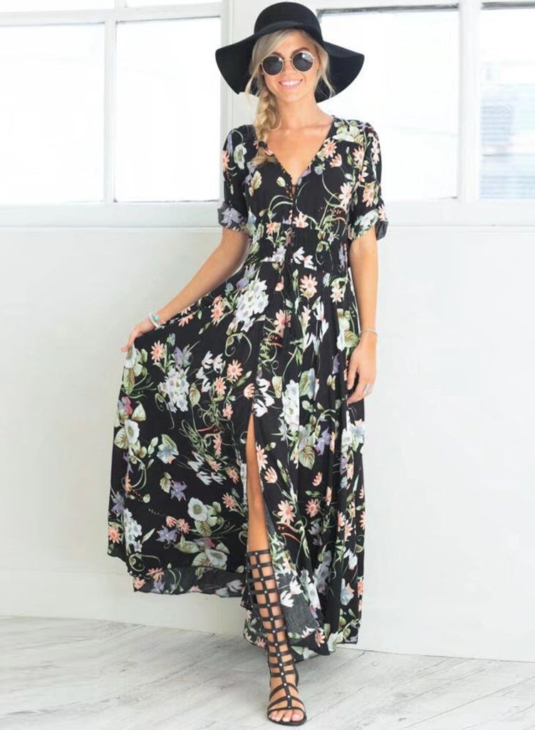 V Neck Short Sleeve High Split Floral Printed Maxi