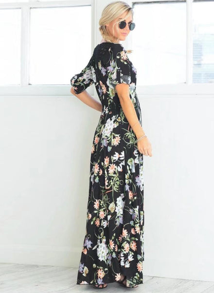 V Neck Short Sleeve High Split Floral Printed Maxi Bohemian Dress