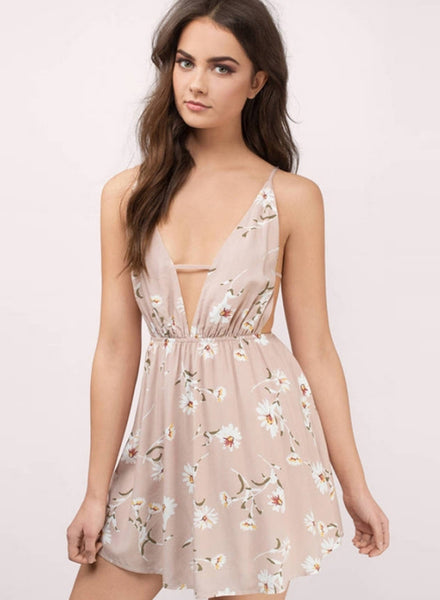 V Neck Sleeveless Backless Floral Printed Mini Dress - girlyrose.com