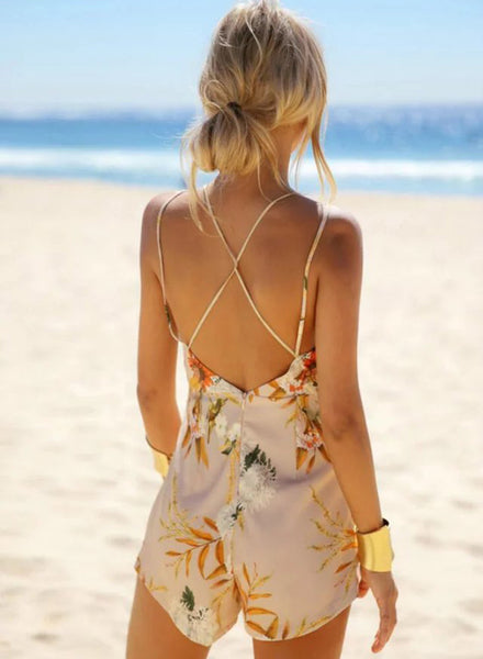 V Neck Sleeveless Backless Floral Printed Romper - girlyrose.com