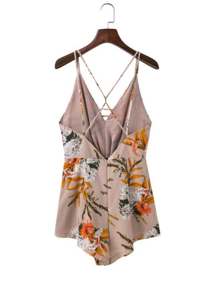 V Neck Sleeveless Backless Floral Printed Romper