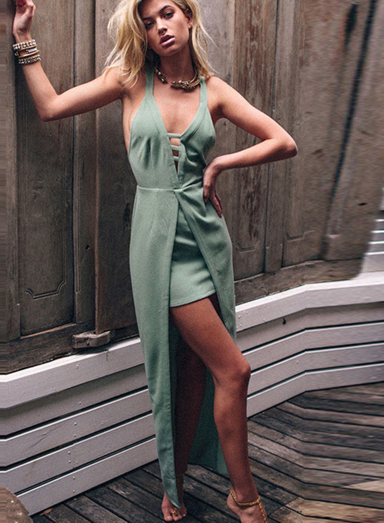 V Neck Sleeveless Backless High Low Maxi Party Dress - girlyrose.com