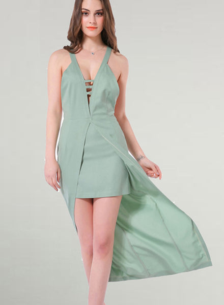 V Neck Sleeveless Backless High Low Maxi Party Dress