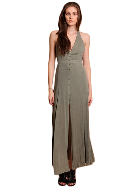 V Neck Sleeveless Backless High Slit Solid Maxi Dress - girlyrose.com