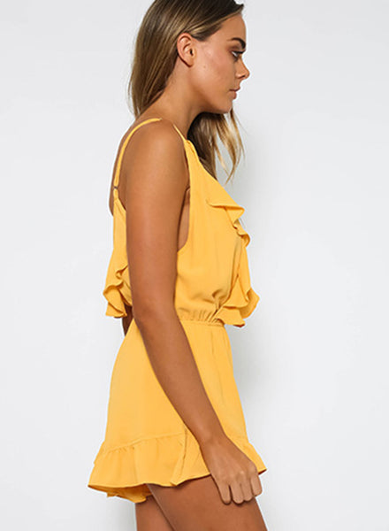 V Neck Sleeveless Backless Ruffle Solid Romper - girlyrose.com
