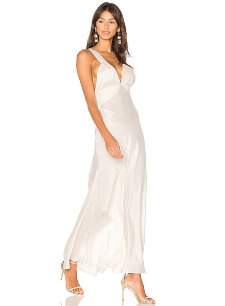 V Neck Sleeveless Backless Solid Maxi Evening Dress - girlyrose.com