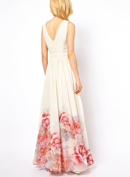 White V Neck Sleeveless Floral Printed Maxi Bohemian Dress