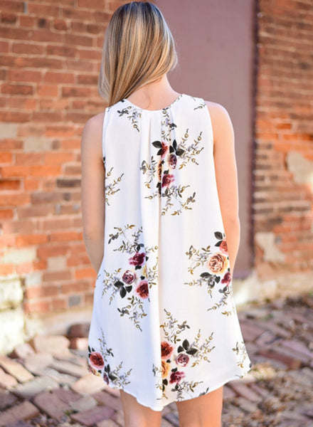 White V Neck Sleeveless Floral Printed Mini Dress - girlyrose.com