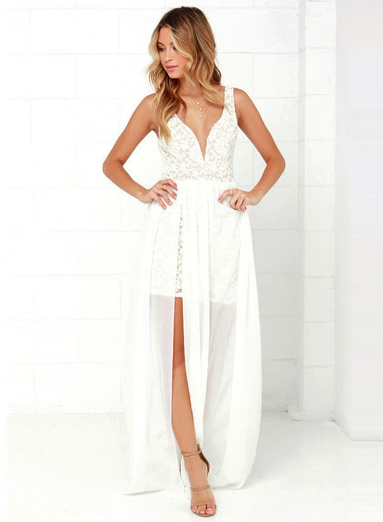 White V Neck Sleeveless Boho Irregular Dress
