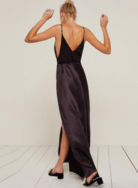 V Neck Sleeveless High Split Tie Waist Maxi Prom Dress - girlyrose.com