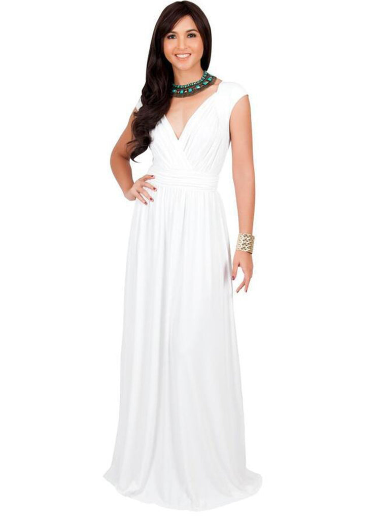 V Neck Sleeveless High Waist Maxi Prom Dress