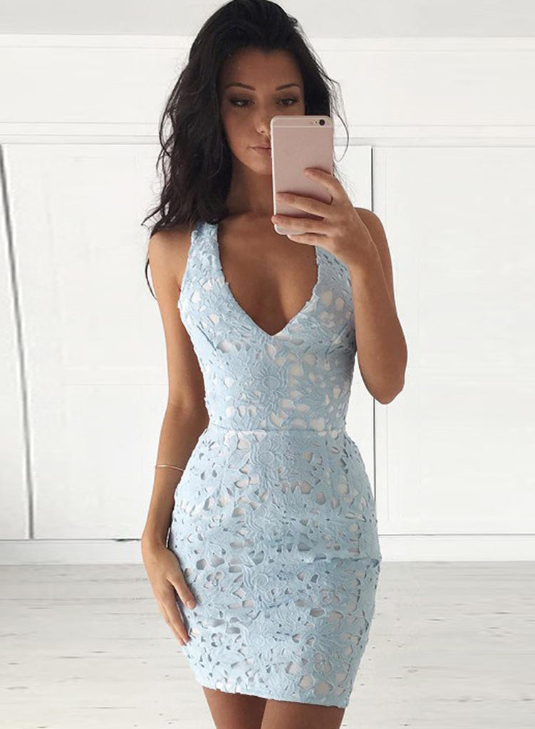 Light blue V Neck Sleeveless Lace Bodycon Mini Dress - girlyrose.com
