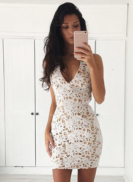 White V Neck Sleeveless Lace Bodycon Mini Dress