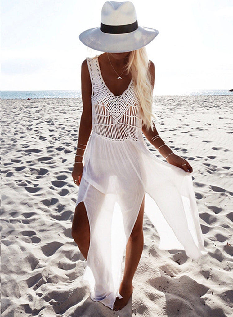 V Neck Sleeveless Slit Chiffon Beach Dress - girlyrose.com
