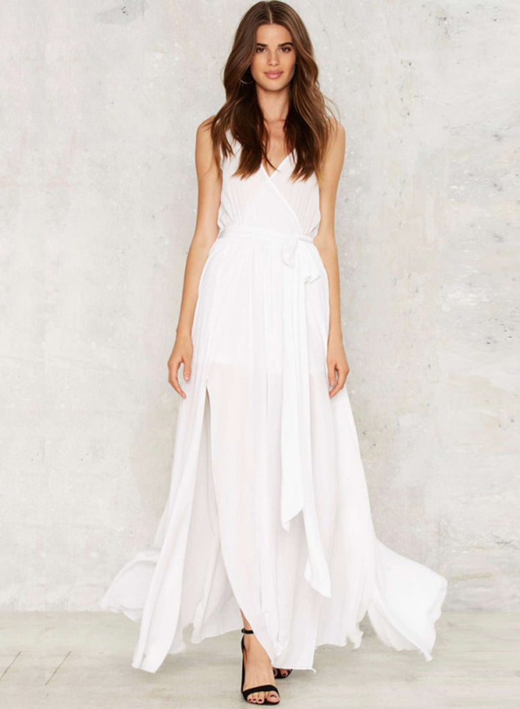 V Neck Sleeveless Split Maxi Chiffon Dress